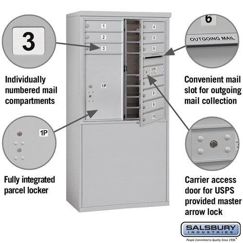 Free-Standing 4C Horizontal Mailbox ADA Height Compliant Unit 3909D-10AFU