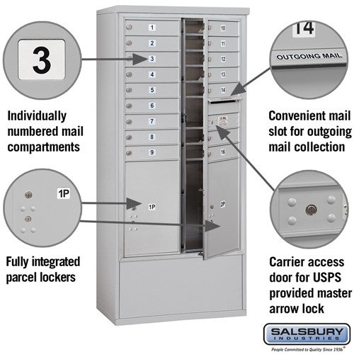 Free-Standing 4C Horizontal Mailbox ADA Height Compliant Unit 3915D-16AFU