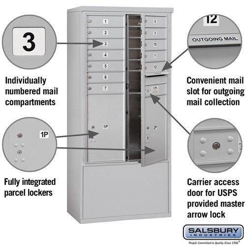 Free-Standing 4C Horizontal Mailbox ADA Height Compliant Unit 3913D-12AFU