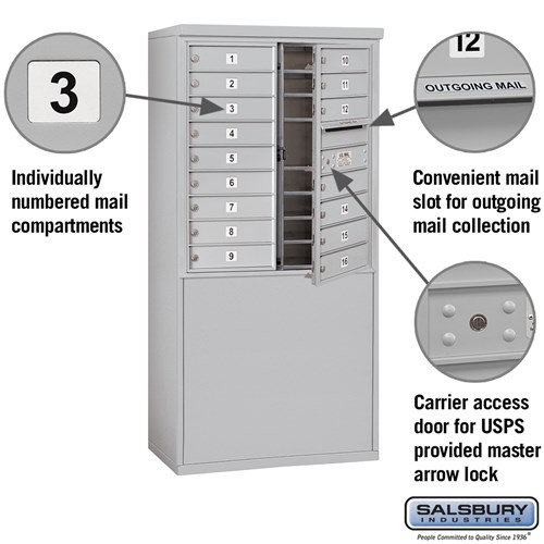 Free-Standing 4C Horizontal Mailbox ADA Height Compliant Unit 3909D-16AFU