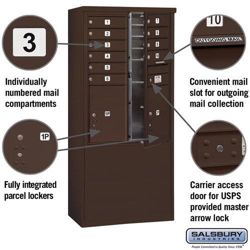Free-Standing 4C Horizontal Mailbox ADA Height Compliant Unit 3911D-10ZFU