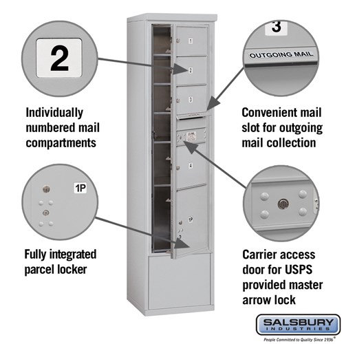 Free-Standing 4C Horizontal Mailbox ADA Height Compliant Unit 3916S-04AFU