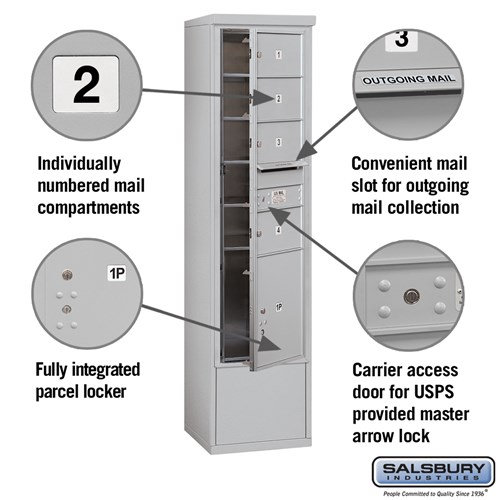 Free-Standing 4C Horizontal Mailbox ADA Height Compliant Unit 3915S-04AFU