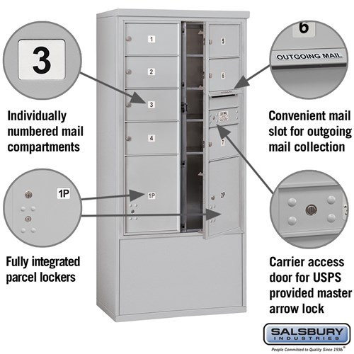 Free-Standing 4C Horizontal Mailbox ADA Height Compliant Unit 3913D-07AFU