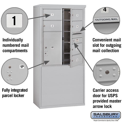 Free-Standing 4C Horizontal Mailbox ADA Height Compliant Unit 3910D-06AFU