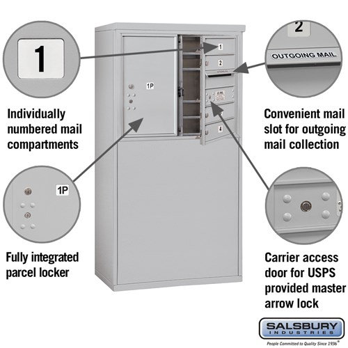 Free-Standing 4C Horizontal Mailbox ADA Height Compliant Unit 3906D-04AFU