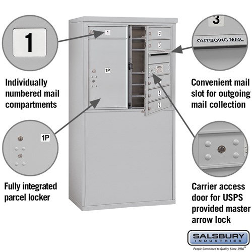 Free-Standing 4C Horizontal Mailbox ADA Height Compliant Unit 3907D-06AFU