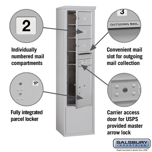 Free-Standing 4C Horizontal Mailbox ADA Height Compliant Unit 3914S-03AFU