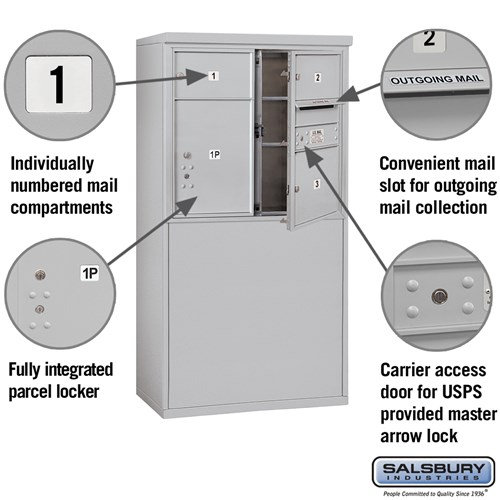 Free-Standing 4C Horizontal Mailbox ADA Height Compliant Unit 3907D-03AFU