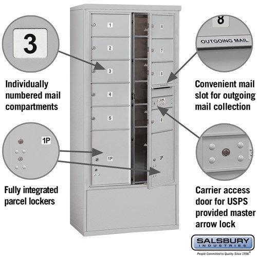 Free-Standing 4C Horizontal Mailbox ADA Height Compliant Unit 3915D-09AFU