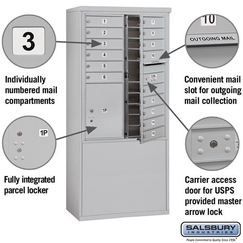 Free-Standing 4C Horizontal Mailbox ADA Height Compliant Unit 3911D-15AFU