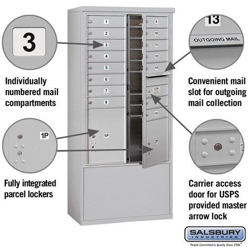 Free-Standing 4C Horizontal Mailbox ADA Height Compliant Unit 3913D-15AFU