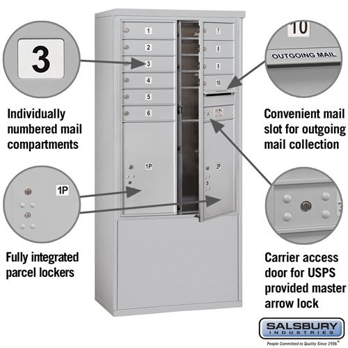Free-Standing 4C Horizontal Mailbox ADA Height Compliant Unit 3912D-10AFU