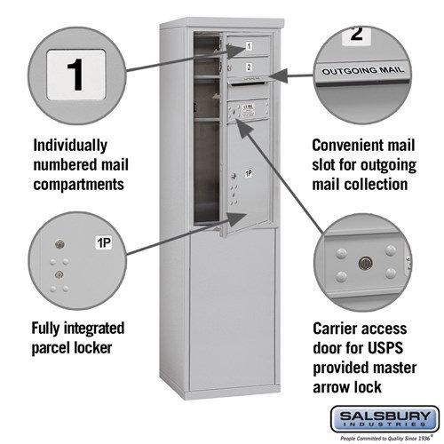 Free-Standing 4C Horizontal Mailbox ADA Height Compliant Unit 3909S-02AFU