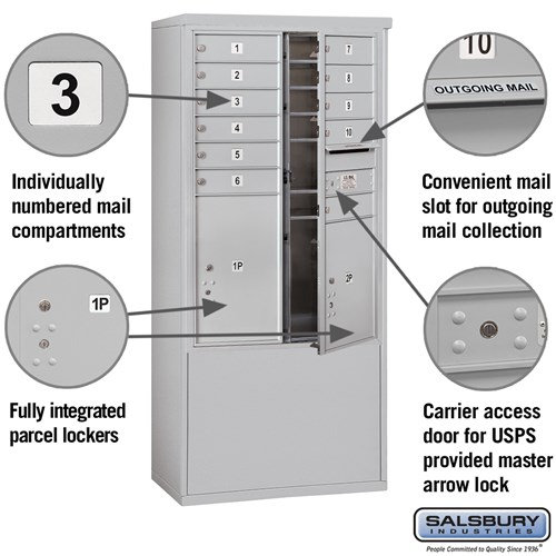 Free-Standing 4C Horizontal Mailbox ADA Height Compliant Unit 3912D-11AFU