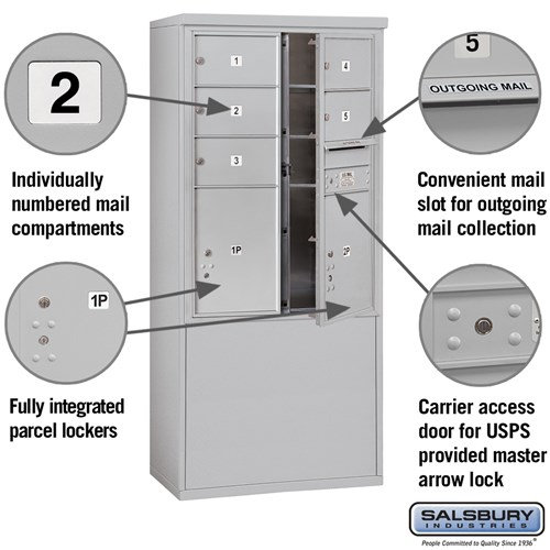 Free-Standing 4C Horizontal Mailbox ADA Height Compliant Unit 3911D-05AFU