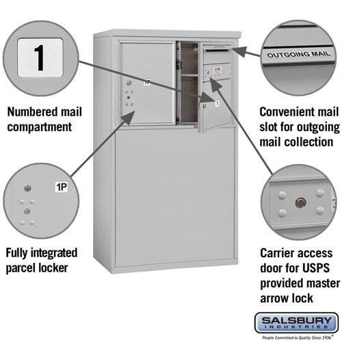 Free-Standing 4C Horizontal Mailbox ADA Height Compliant Unit 3905D-01AFU