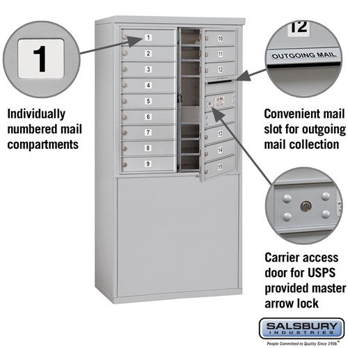 Free-Standing 4C Horizontal Mailbox ADA Height Compliant Unit 3909D-15AFU