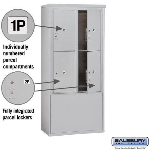 Free-Standing 4C Horizontal Mailbox ADA Height Compliant Unit 3912D-4PAFU