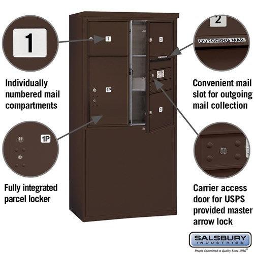 Free-Standing 4C Horizontal Mailbox ADA Height Compliant Unit 3909D-03ZFU
