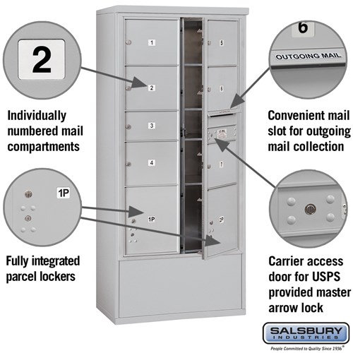 Free-Standing 4C Horizontal Mailbox ADA Height Compliant Unit 3916D-07AFU
