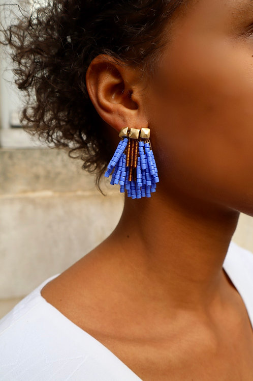 Boucles d'oreilles BAHIA bleues