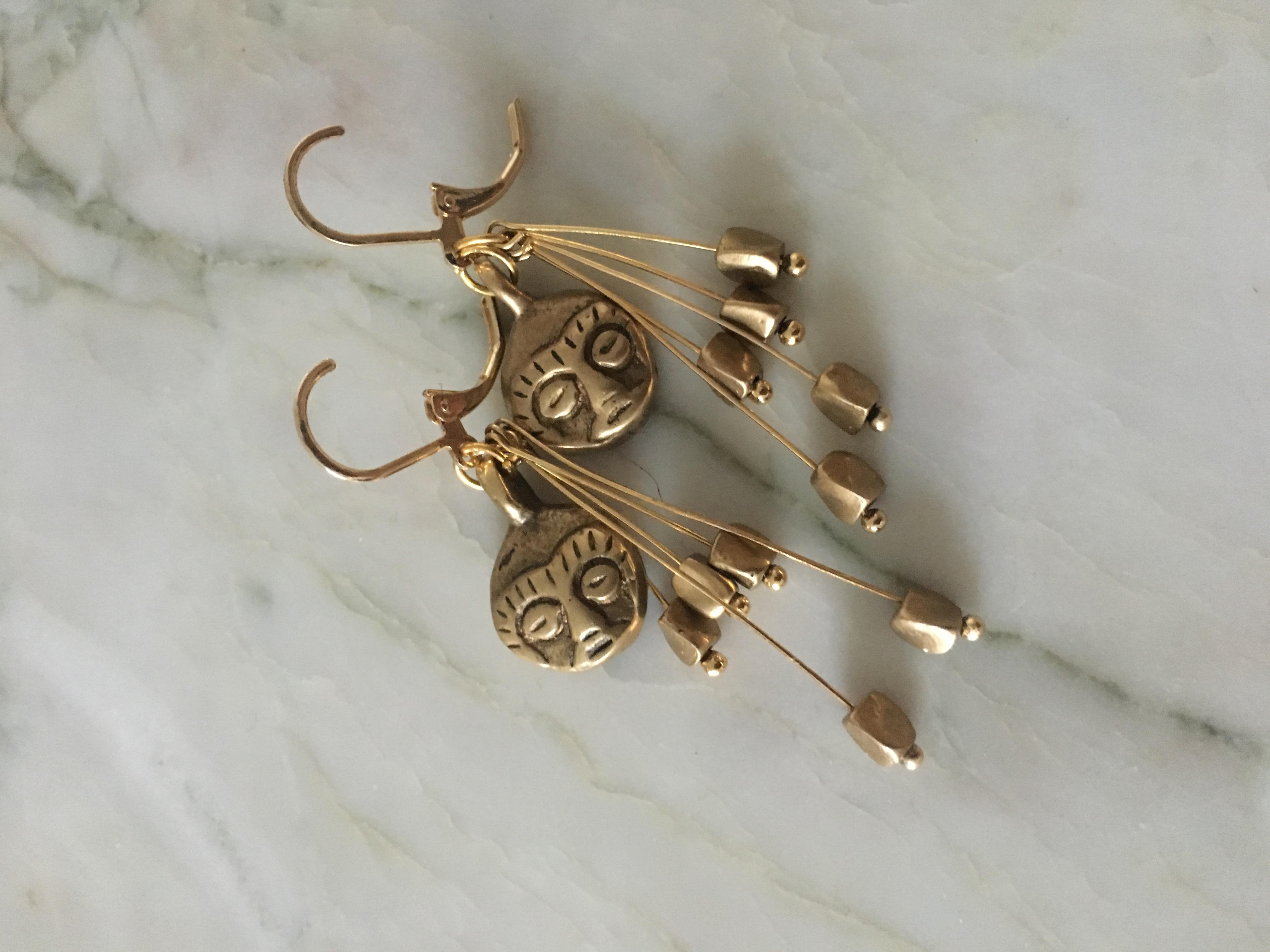 boucles d'oreilles petit singe bronze