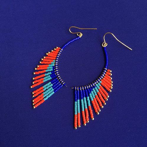 Boucles ailes d'ange bleu/turquoise/rouge