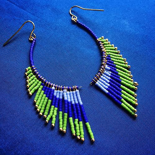 Boucles ailes bleu/vert