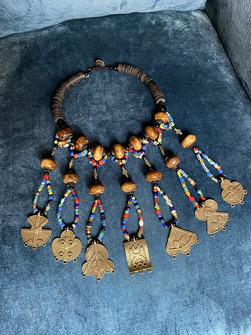 Collier os, bronze et perles anciennes