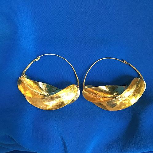 Très grandes boucles d'oreilles bronze