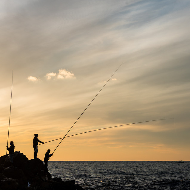 Sunset Fishing Tyre City, Lebanon