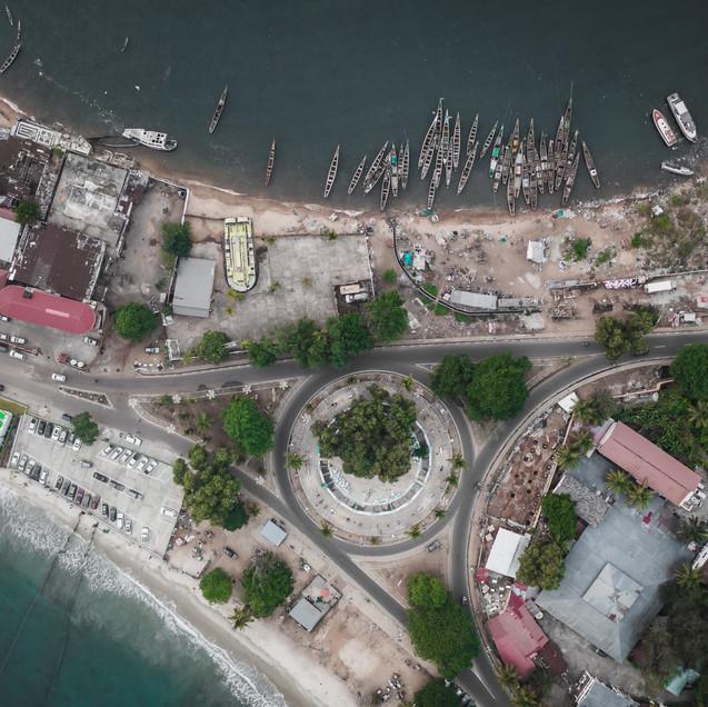 Lumely beach roundabout, Sierra Leone