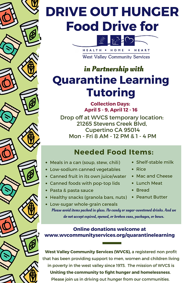 Quarantine Learning Tutoring Food Drive