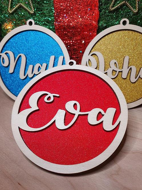 Personalised Wood & Glitter Decoration