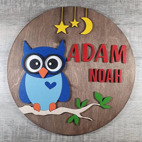 Personalised Owl Name Sign - Blue
