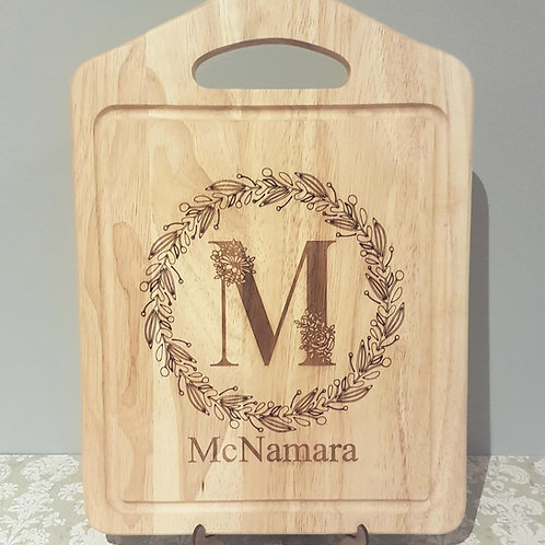 Personalised Family Name Chopping Board - Floral