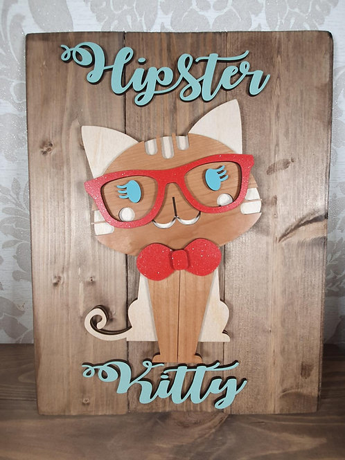 Hipster Kitty Wall Plaque
