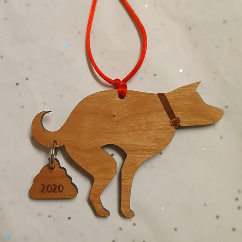 Pooping Dog Ornament 2020