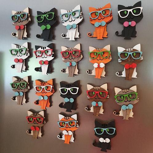 Hipster Kitty Fridge Magnets