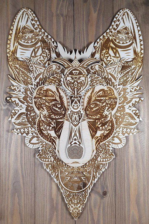 Wood Engraved Wolf Wall Art