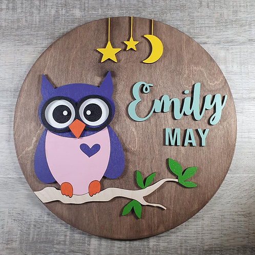 Personalised Owl Name Sign - Purple/Pink