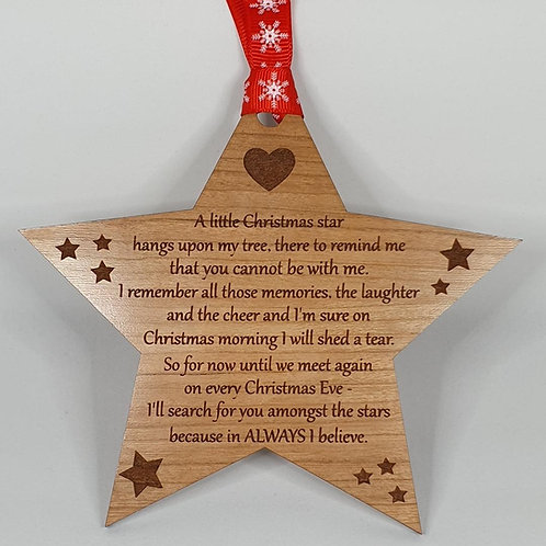 Star Christmas Tree Decoration - Remembrance