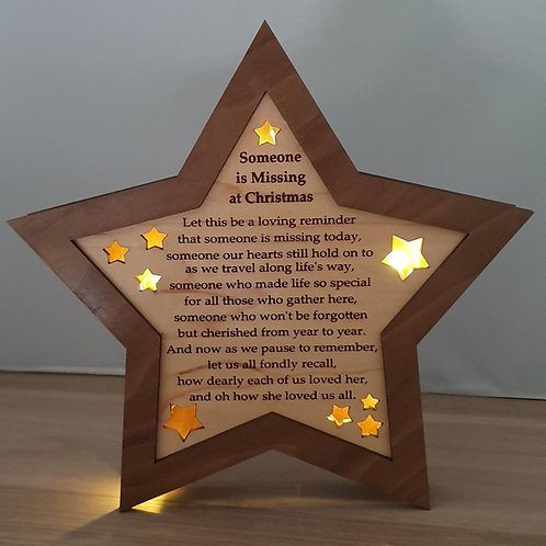 Someone is missing at Christmas - Wooden Star