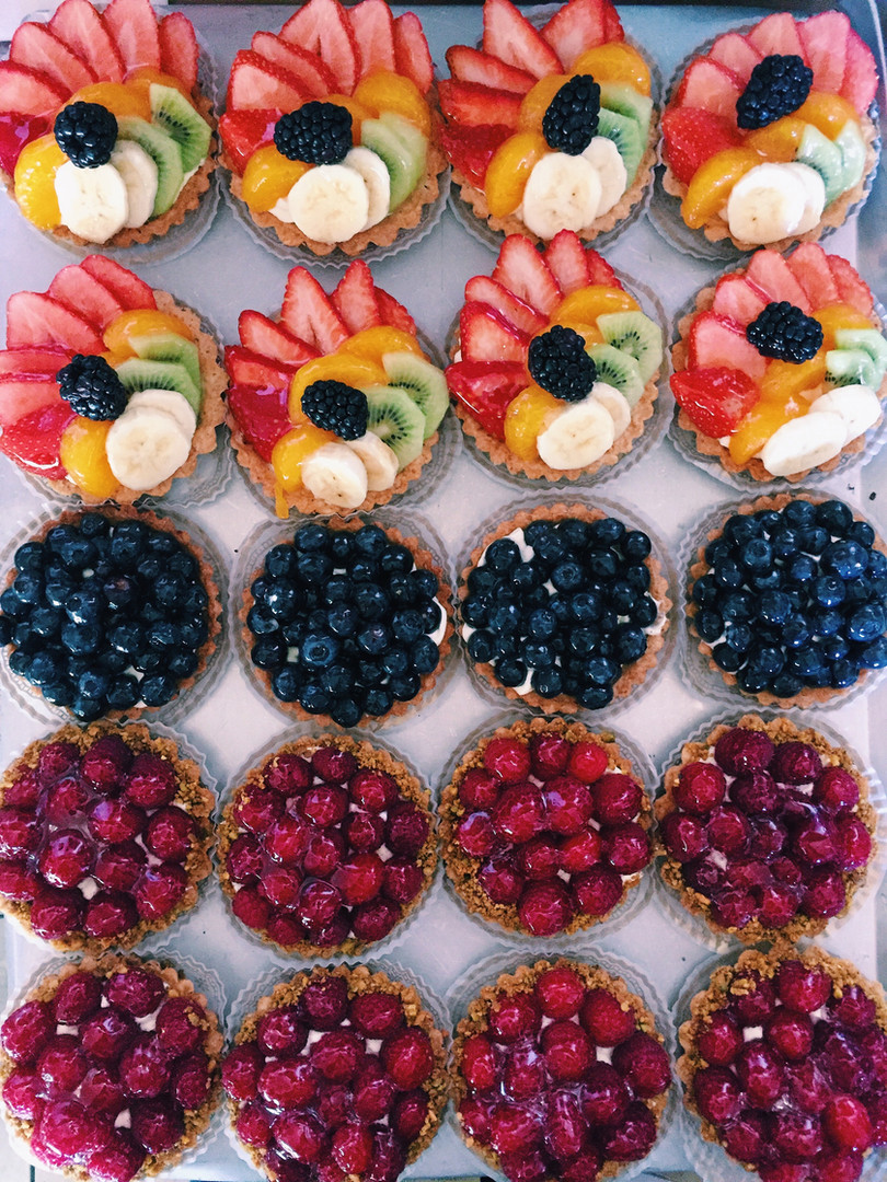 Fruit Tart, Blueberry Tart, Raspberry Pistachio Tart