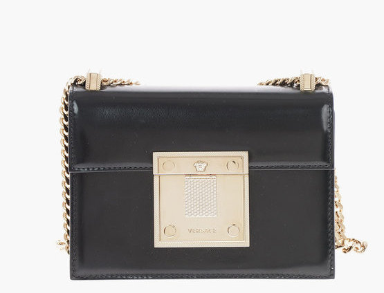 VERSACE BRUSHED LEATHER DIAMANTE MINI BAG WITH SHOULDER CHAIN