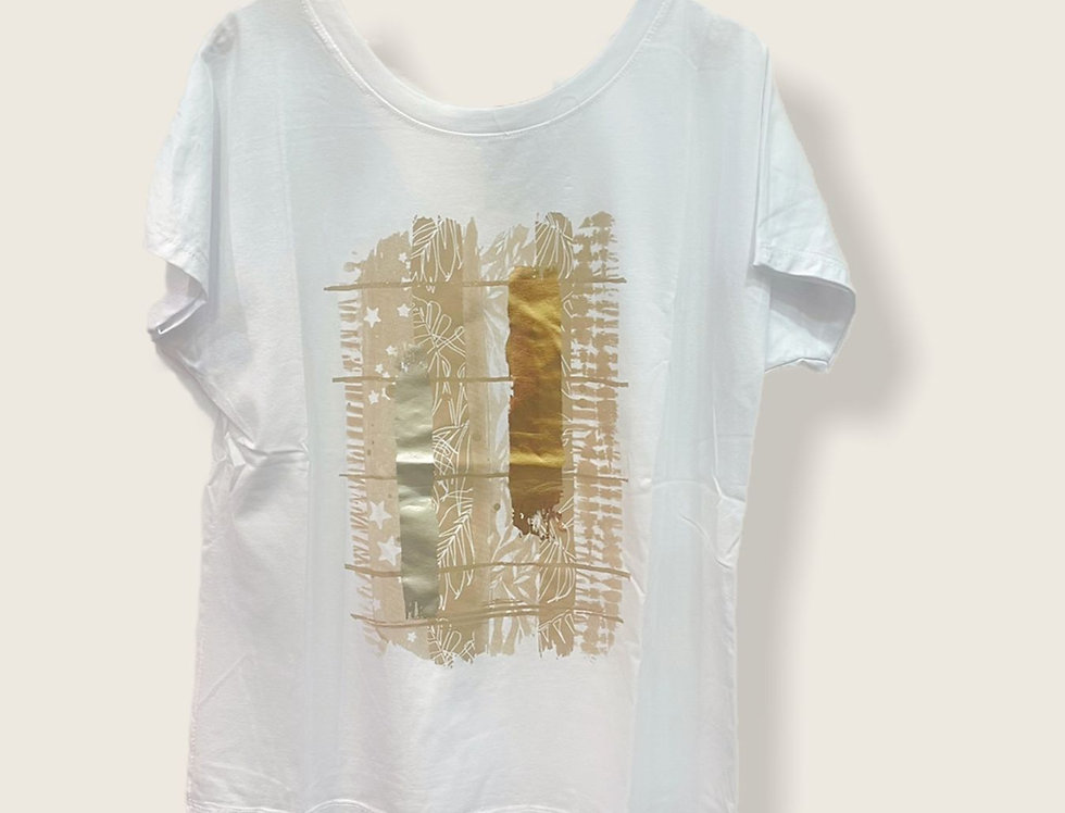 Chlo Roma Over Size White & Gold Tshirt