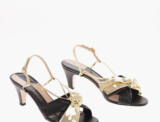 GUCCI 6.5CM LEATHER CHARLOTTE ANKLE-STRAP SANDALS WITH BOW