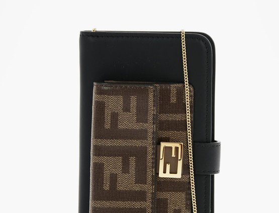 FENDI LEATHER IPHONE X/XS COVER WITH REMOVABLE CHAIN
