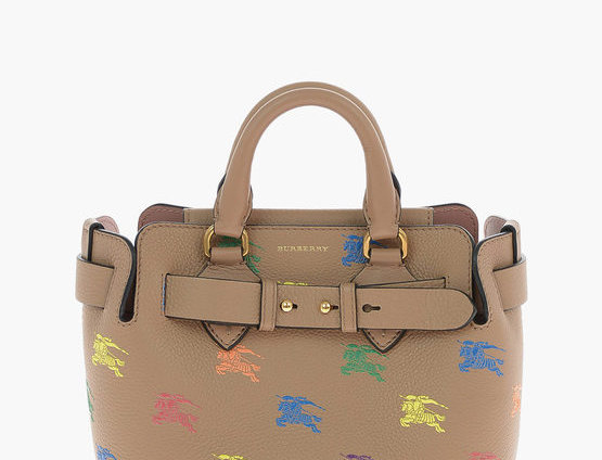 BURBERRY HORSE RAINBOW PRINTED LEATHER BABY BELT TOTE BAG